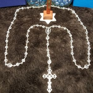 Crystal Clear Rosary. With Card How to Pray.